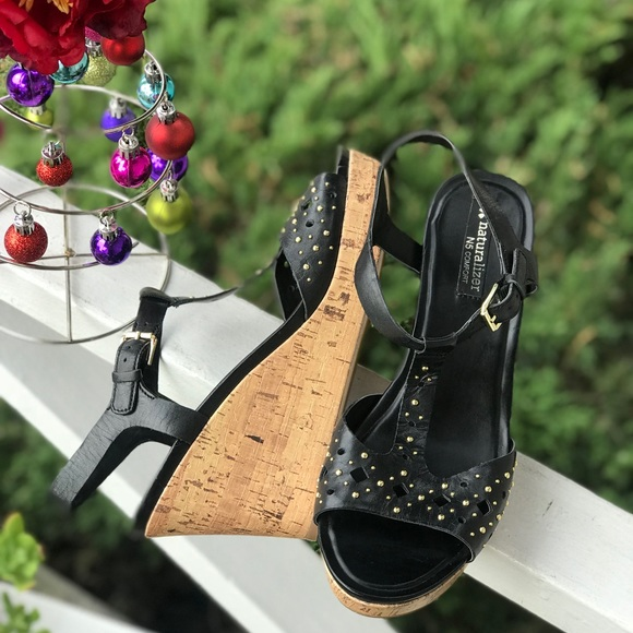 Naturalizer Shoes - Women's Naturalizer 'Riley' Black T-Strap Wedge